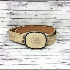 FOSSIL-Distressed Ivory Cracked Leather Men's Belt